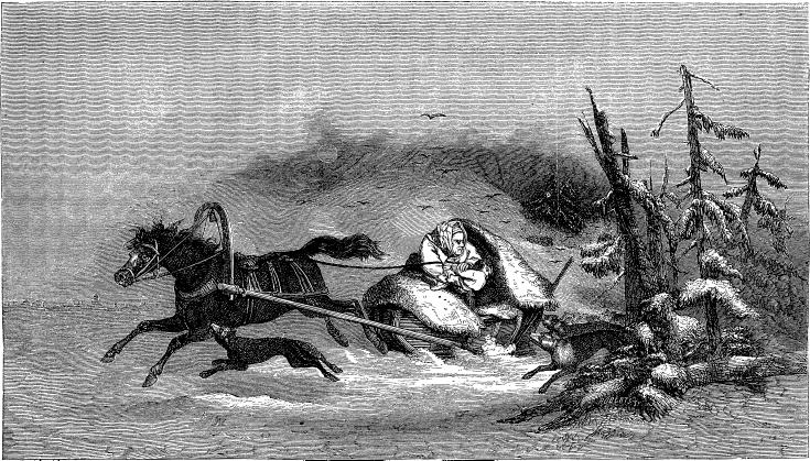 ESTHONIAN WOMAN ABANDONING HER CHILDREN TO THE WOLVES