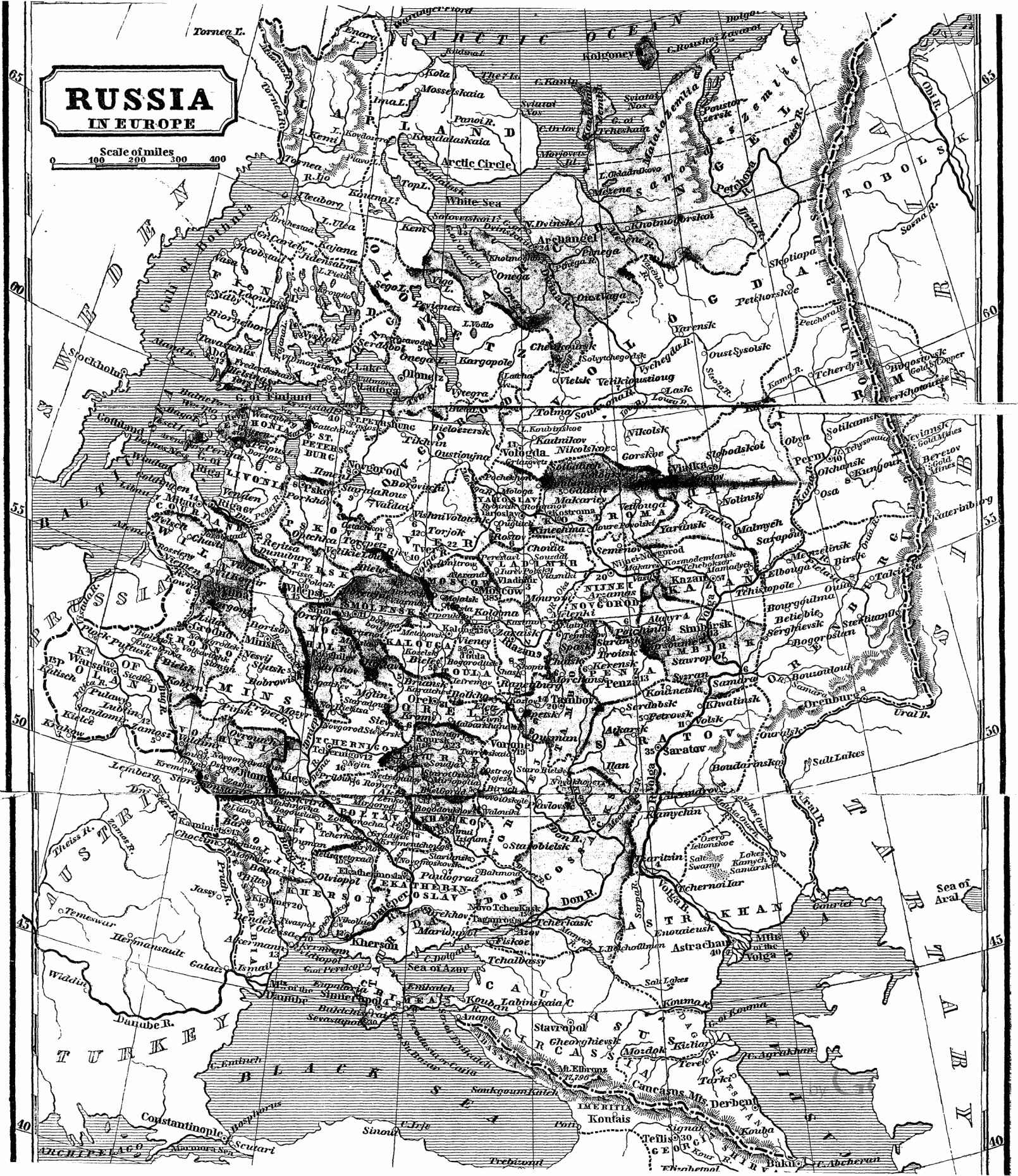Map of European Russia 4 Illustrations